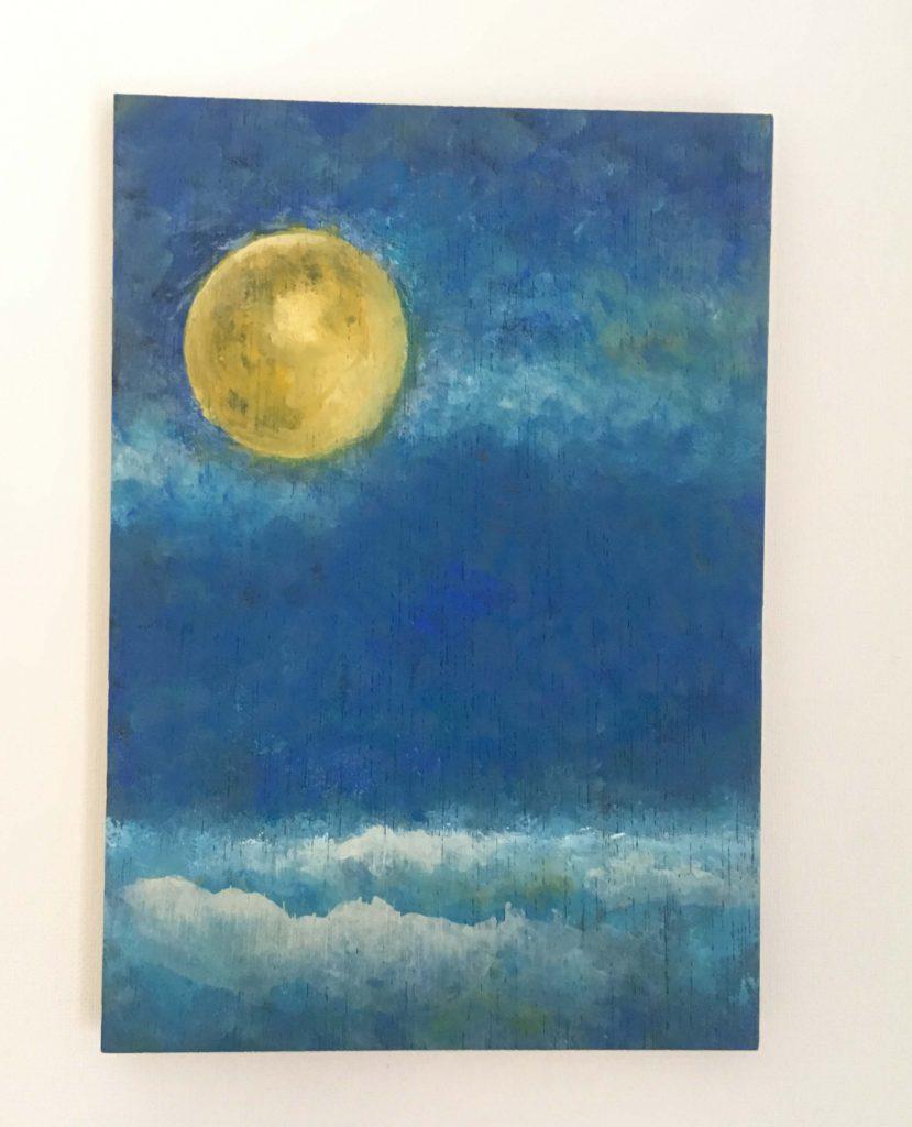月と海(アクリル)